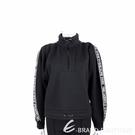 KARL LAGERFELD 字母織帶抽繩細節黑色太空棉大學T 運動衫(女款) 2040427-01