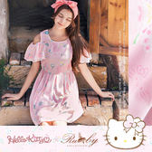 洋裝 Hello Kitty x Ruby 聯名款-露肩荷葉袖印花縮腰短袖洋裝-Ruby s 露比午茶