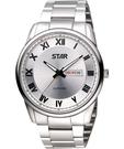 STAR 羅馬經典藍寶石水晶時尚腕錶-銀 1T1407-211S-S