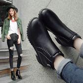 高跟馬丁靴英倫風女厚底粗跟短筒靴