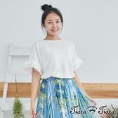 【Tiara Tiara】百貨同步 蕾絲素色棉質短袖上衣(白/藍)