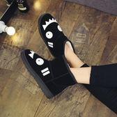雪靴 冬季韓版雪地靴女短筒卡通短靴平底學生防滑可愛加厚加絨保暖靴子