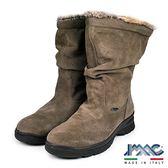 【IMAC】義大利時尚麂皮毛飾皺折中筒氣墊靴  咖啡(82799-MBR)