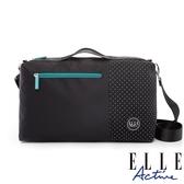 背包族【ELLE active】錯位空間系列-小旅行袋/側背包/公事包/手提包(黑色)
