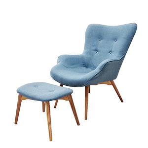 【JUSTBUY】北歐經典單人休閒沙發椅凳組(單人沙發椅+獨立腳凳)個性牛仔藍