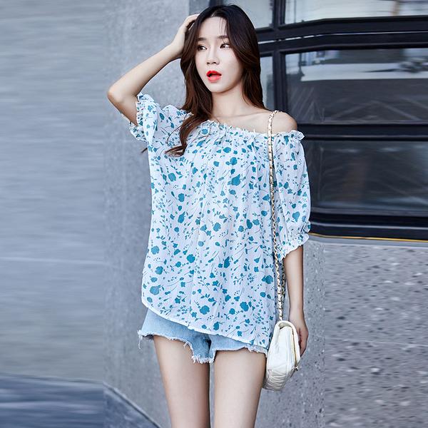 【藍色巴黎 】 韓國時尚碎花領口堆層壓褶雪紡上衣《3色》【28869】