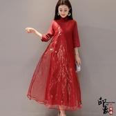 漢服古裝手繪中國風復古文藝女裙歐根紗七分袖連身裙 降價兩天