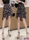 熱賣半身魚尾裙 碎花魚尾半身裙女夏季新款不規則荷葉邊高腰顯瘦包臀一步a字短裙 coco