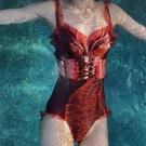 韓國泳衣女連體性感蕾絲波點小胸聚攏遮肚顯瘦一字肩溫泉度假顯瘦