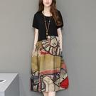 民族風連身裙 夏季寬鬆顯瘦大碼民族風拼接棉麻復古印花洋裝女-Ballet朵朵