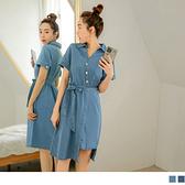 V字襯衫領不對稱排釦綁帶短袖洋裝--適 XL~6L OrangeBear《DA6934》