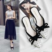 夏季 網紅同款蕾絲穆勒鞋網紗尖頭包頭平跟外穿涼拖鞋 女鞋半拖 雙11低至8折
