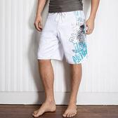 ★奧可那★ 塗鴉風白色海灘褲
