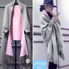 【V0363】shiny藍格子-優雅風尚.雙色流蘇鬥篷披肩開衫外套