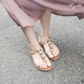 真皮涼鞋-R&BB羊皮*迷人珍珠度假風 寶石繫帶夾腳涼拖-杏色