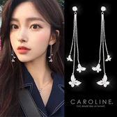 《Caroline》★韓國官網熱賣蝴蝶長款甜美浪漫風格時尚流行耳環69969