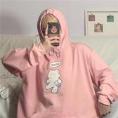 連帽T 粉色套頭衛衣女寬鬆韓版長袖原宿風T恤新款秋冬學生連帽外套 - 古梵希