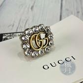BRAND楓月 GUCCI 605820 Crystal Double G 浮誇水晶 雙G 戒指