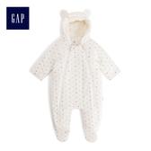 Gap男女嬰兒 可愛熊耳造型絨毛內裡包屁衣 494340-象牙白