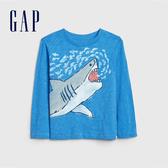 Gap男幼童童趣鯊魚印花圓領T恤522913-微風藍