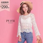 現貨 PUFII-上衣 圖騰雕花縷空罩衫上衣 2色-0329 春【ZP14310】