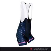 【亞特力士ATLAS】女吊帶三分褲 30℃~38℃(二代) WSB-901-N(波卡點點-海軍藍)
