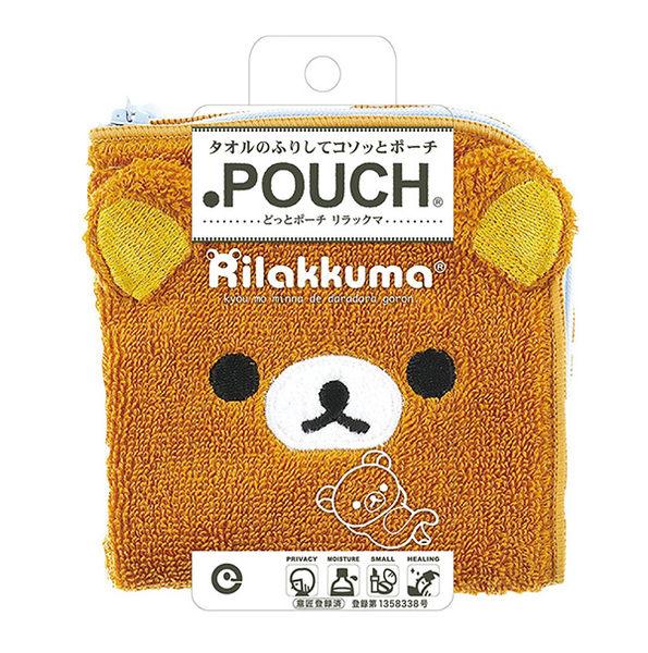 拉拉熊 毛巾拉鍊收納袋 小方巾/毛巾/手帕 100%棉 懶熊款 該該貝比日本精品 ☆