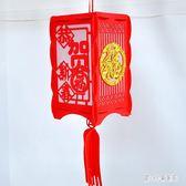 過年吊飾 過年福字大紅燈籠 春節喜慶方形燈籠立體中國結掛件 nm17732【甜心小妮童裝】