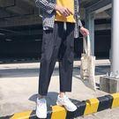 港風夏季bf風原宿褲子男士韓版潮流休閒褲男生寬鬆直筒闊腿九分褲【快速出貨八折優惠】