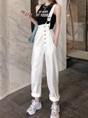 韓版高腰牛仔背帶褲女2020秋季新款寬鬆褲子潮ins網紅百搭休閒褲 雙11提前購