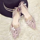 尖頭單鞋女高跟鞋3cm 中空花朵低跟小細跟伴娘鞋 全館免運