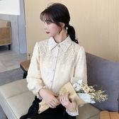蕾絲上衣 8631#秋冬雪紡衫蕾絲娃娃領加絨加厚洋氣百搭上衣NA53快時尚