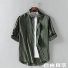 亞麻襯衫男夏季短袖很仙的白襯衣寬鬆中國風棉麻半袖上衣男士外套 自由角落