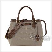 PRADA Elegant Style Totes刺繡LOGO蝴蝶結設計帆布扣式手提斜背包(棕)