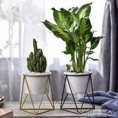 北歐三角形鐵藝花架 簡約現代多肉陶瓷花盆綠植花器 名創家居館
