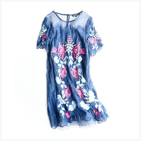 [超豐國際]Z GAO雅色調  蕾絲刺繡 短款連衣裙 薄款