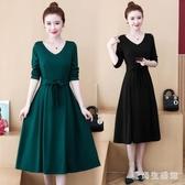 大碼胖mm法式連身裙春裝2020新款收腰顯瘦中長款氣質過膝長洋裝 XN9733【愛尚生活館】
