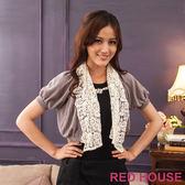 RED HOUSE-蕾赫斯-2 way 蕾絲領短版針織外套(灰色) 零碼出清,滿499元才出貨