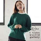 ❖ Autumn ❖ 荷葉邊蕾絲領拼接素面長袖上衣 - E hyphen world gallery