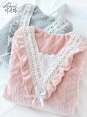 孕婦睡衣女秋冬季冬天月子服哺乳套裝加厚加絨珊瑚絨款產後12月份