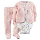 【美國Carter's】純棉套裝3件組- 長袖外套+粉嫩花卉短袖包屁衣+連腳褲 121D565