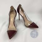 BRAND楓月 GIANVITO ROSSI PLEXI系列 紅色漆皮 透明側邊 拼接 尖頭 高跟鞋 #36