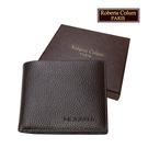 【Roberta Colum】諾貝達 男用皮夾 短夾 專櫃皮夾 進口軟牛皮短夾(咖啡色-24001)【威奇包仔通】