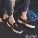 2021夏季小熊帆布鞋女學生韓版樂福鞋百搭懶人鞋女平底一腳蹬女鞋 『新佰數位屋』