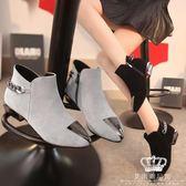 短靴 尖頭鞋鐵頭磨砂粗跟馬丁靴 艾米潮品館