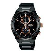 SEIKO SPIRIT簡約率性太陽能計時腕錶/黑鋼/V195-0AE0K