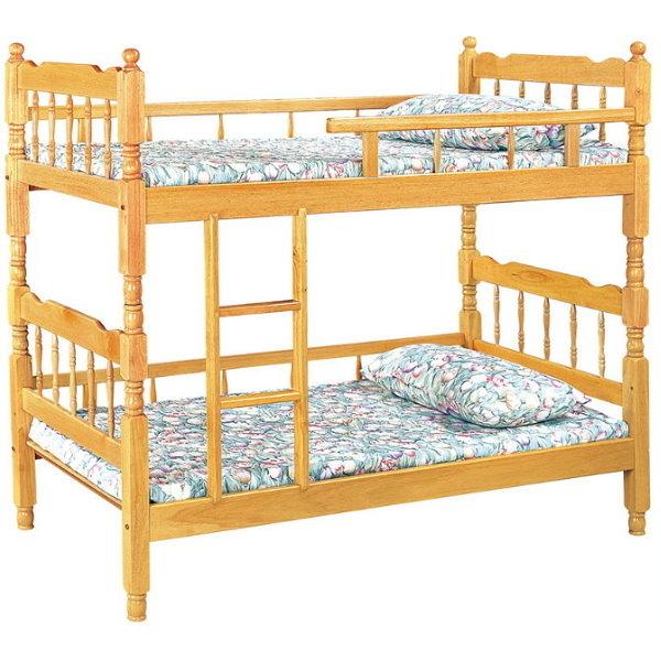 雙層床 FB-599-1 白木3尺方柱雙層床 (不含床墊) 【大眾家居舘】