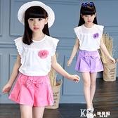 女童套裝-女童夏裝套裝2021新款網紅洋氣女孩夏季短褲寬鬆中大童兒童兩件套