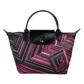 Longchamp OP ART幾何風格錯視條紋短提把手提水餃包-小(紅色)480535-545