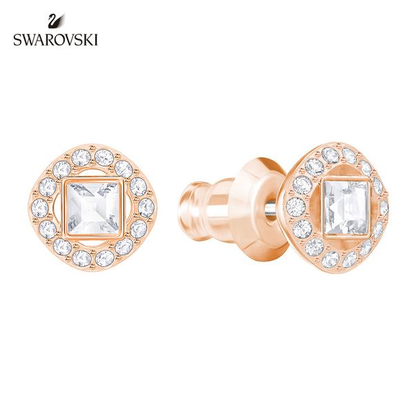 施華洛世奇 Angelic Square 玫金色圓形璀璨光圈穿孔耳環